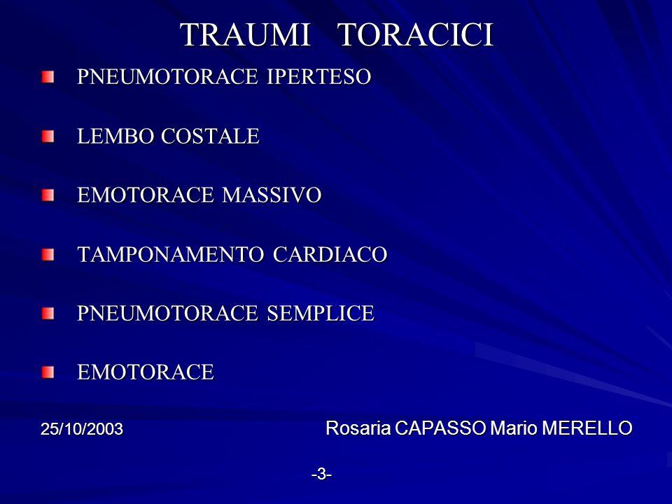 CONTUSIONE POLMONARE CONTUSIONE POLMONARE ROTTURA TRACHEO-BRONCHIALE ROTTURA TRACHEO-BRONCHIALE TRAUMA CARDIACO CHIUSO TRAUMA CARDIACO CHIUSO ROTTURA TRAUMATICA DI AORTA ROTTURA TRAUMATICA DI AORTA LACERAZIONE DI DIAFRAMMA LACERAZIONE DI DIAFRAMMA FERITA TRAPASSANTE DEL MEDIASTINO FERITA TRAPASSANTE DEL MEDIASTINO 25/10/2003 Rosaria CAPASSO Mario MERELLO -4- -4-