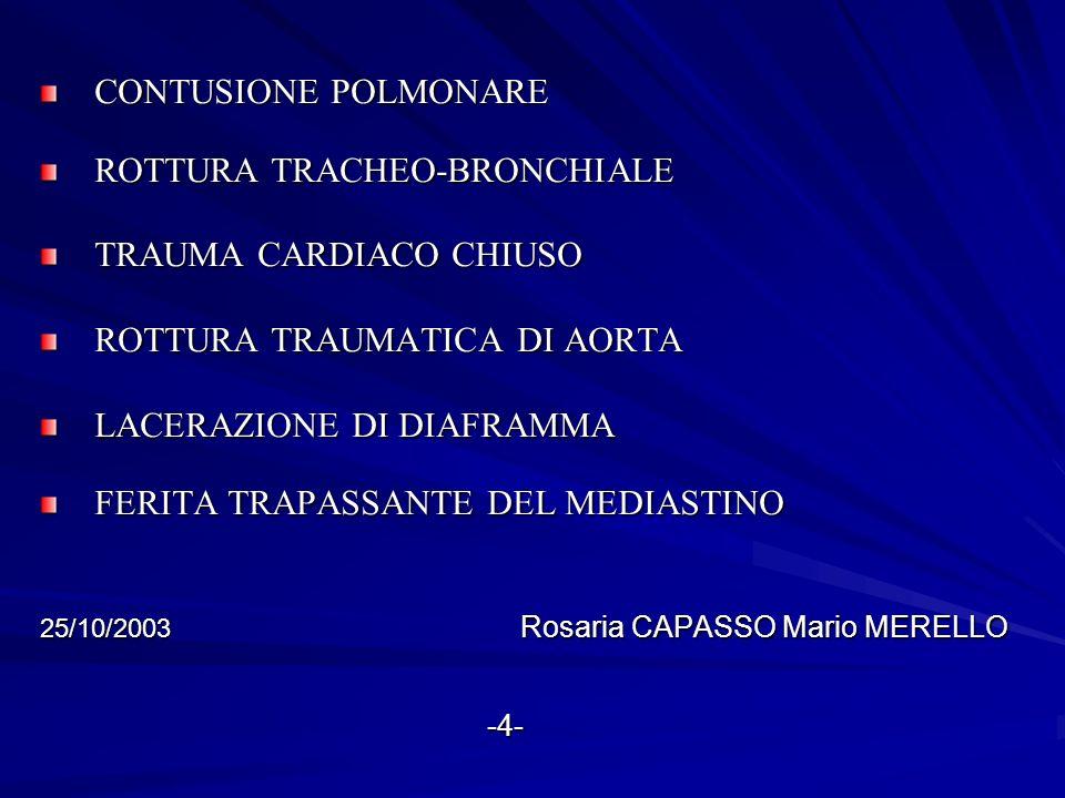 TRAUMI TORACICI MORTALITA 10% MENO DEL 10% DEI TRAUMI CHIUSI E CIRCA IL 15 – 30% DELLE LESIONI PENETRANTI RICHIEDONO UNA TORACOTOMIA 25/10/2003 Rosaria CAPASSO Mario MERELLO -5- -5-