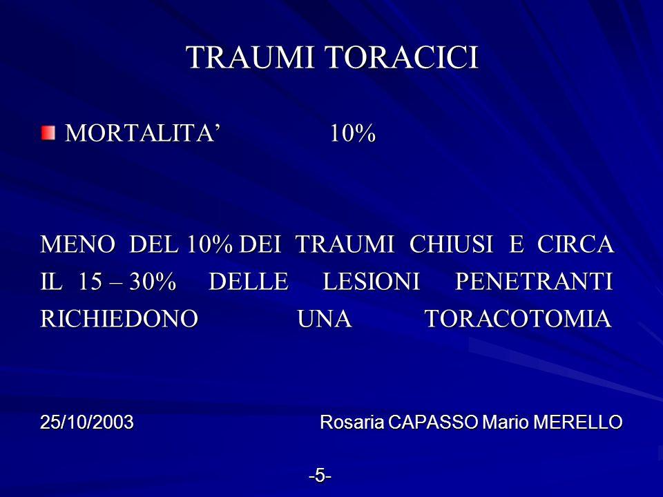 LESIONI TRAUMATICHE DELLADDOME TRAUMI CHIUSI TRAUMI PENETRANTI (DA TAGLIO E/O DA ARMA DA FUOCO) (DA TAGLIO E/O DA ARMA DA FUOCO) 25/10/2003 Rosaria CAPASSO Mario MERELLO -6- -6-