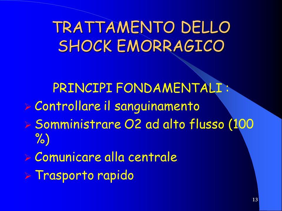 12 CAUSE DI SHOCK EMORRAGICO EMORRAGIA ESTERNA CONTROLLABILE EMORRAGIA ESTERNA INCONTROLLABILE EMORRAGIA INTERNA
