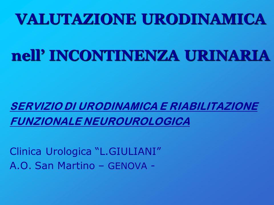 VALUTAZIONE URODINAMICA nell INCONTINENZA URINARIA SERVIZIO DI URODINAMICA E RIABILITAZIONE FUNZIONALE NEUROUROLOGICA Clinica Urologica L.GIULIANI A.O