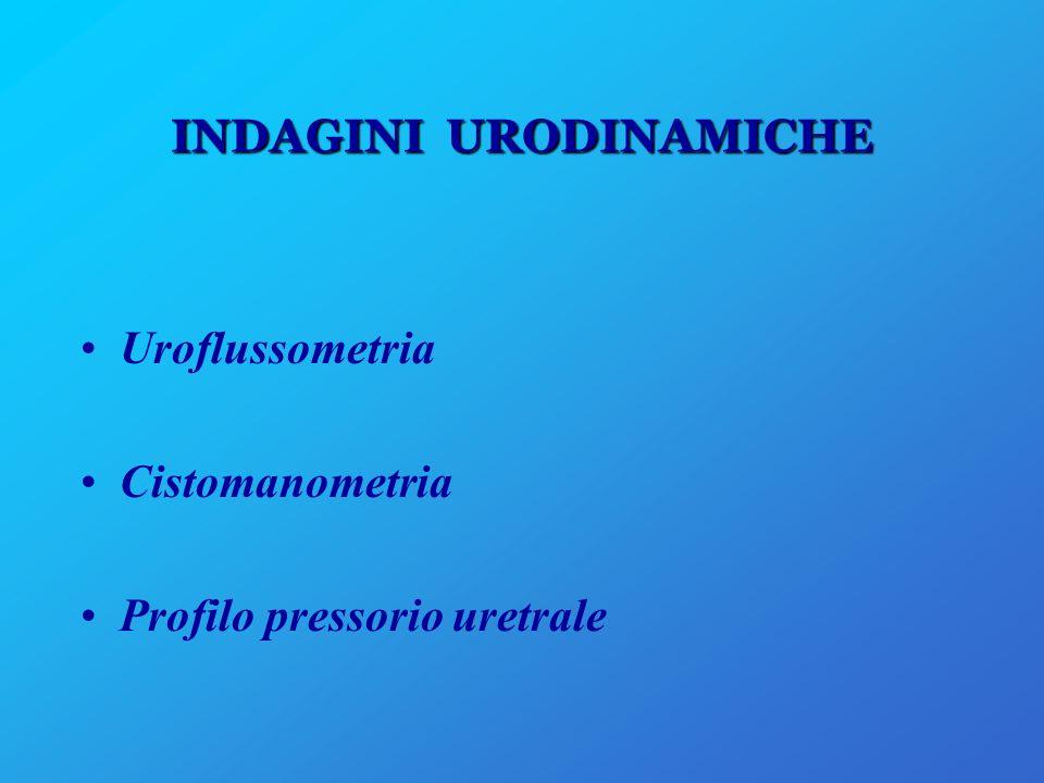 INDAGINI URODINAMICHE Uroflussometria Cistomanometria Profilo pressorio uretrale