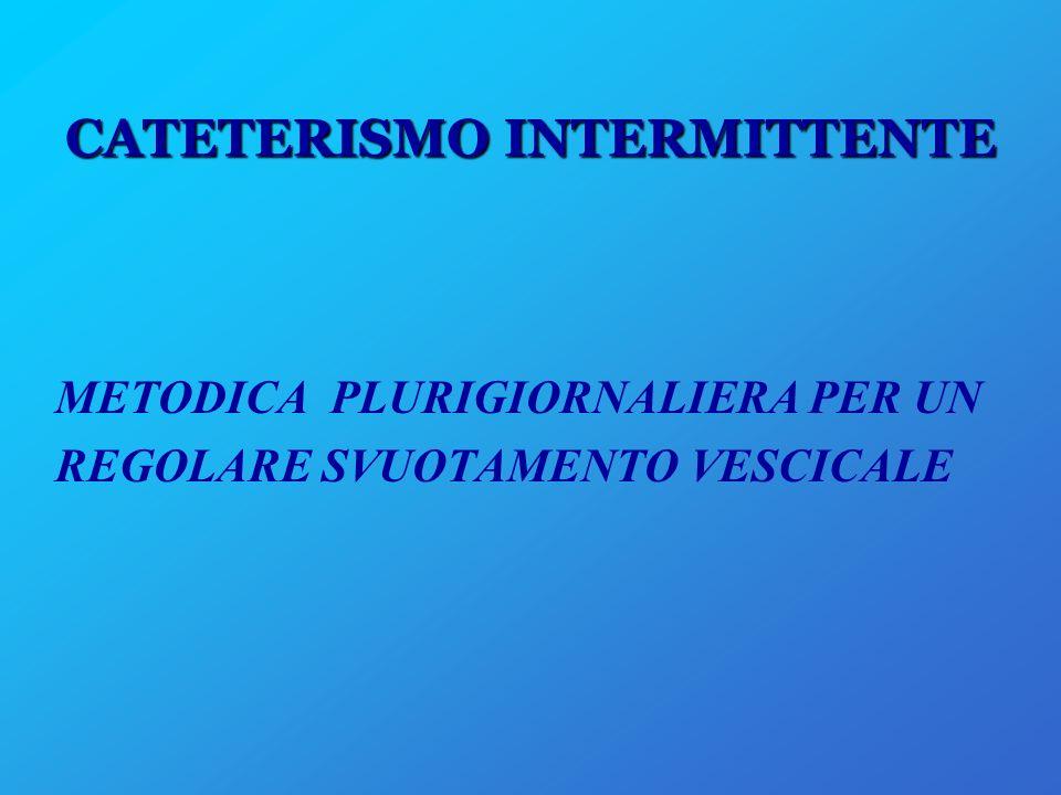 CATETERISMO INTERMITTENTE METODICA PLURIGIORNALIERA PER UN REGOLARE SVUOTAMENTO VESCICALE