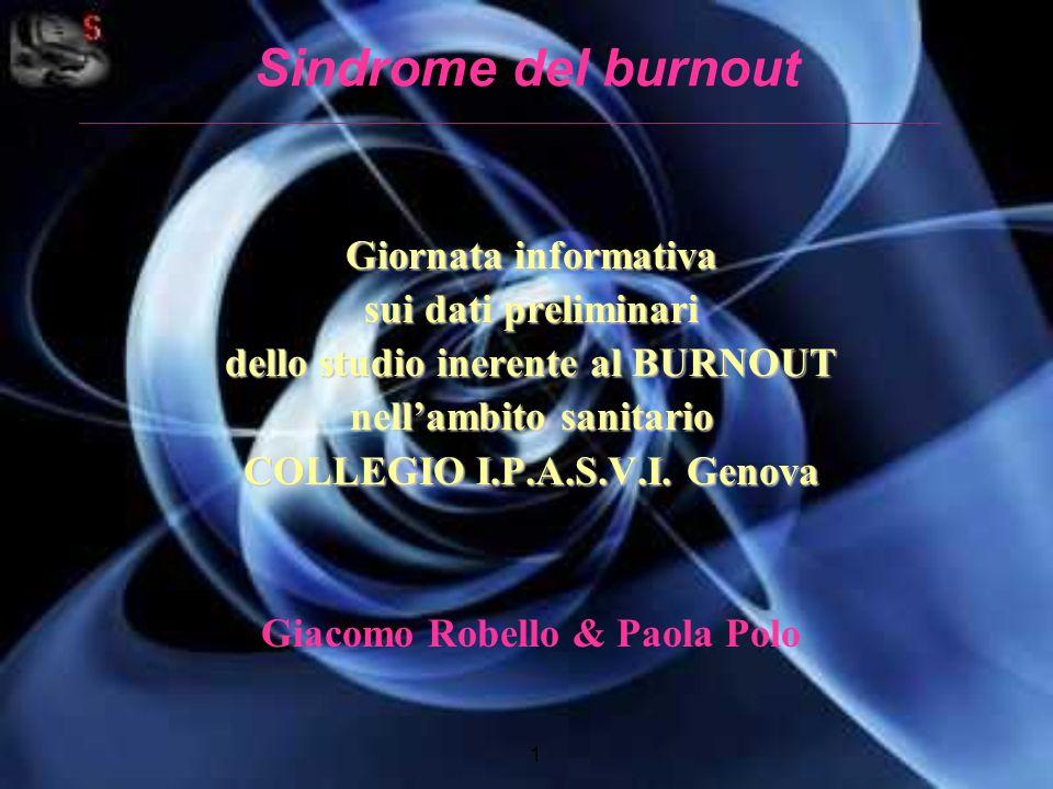 Sindrome del burnout Giornata informativa sui dati preliminari dello studio inerente al BURNOUT nellambito sanitario COLLEGIO I.P.A.S.V.I. Genova Giac