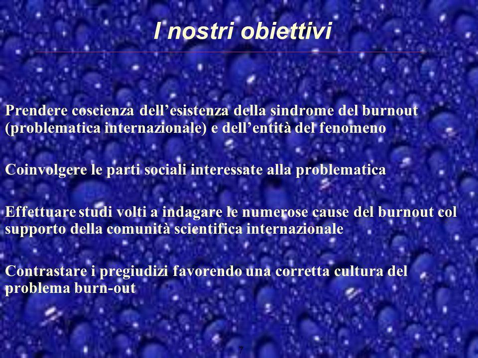 I nostri obiettivi Prendere coscienza dellesistenza della sindrome del burnout (problematica internazionale) e dellentità del fenomeno Coinvolgere le