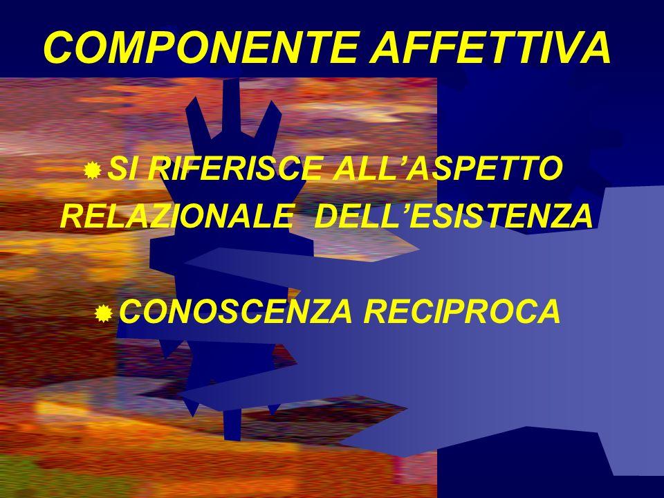COMPONENTE AFFETTIVA ATTENZIONE ALLINCONTRO SONO IMPORTANTI EMOZIONI E SENTIMENTI È IMPORTANTE IL FEELING