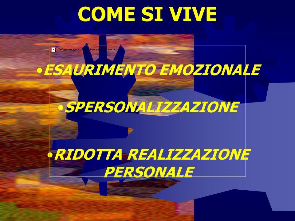 COME SI VIVE ESAURIMENTO EMOZIONALE SPERSONALIZZAZIONE RIDOTTA REALIZZAZIONE PERSONALE