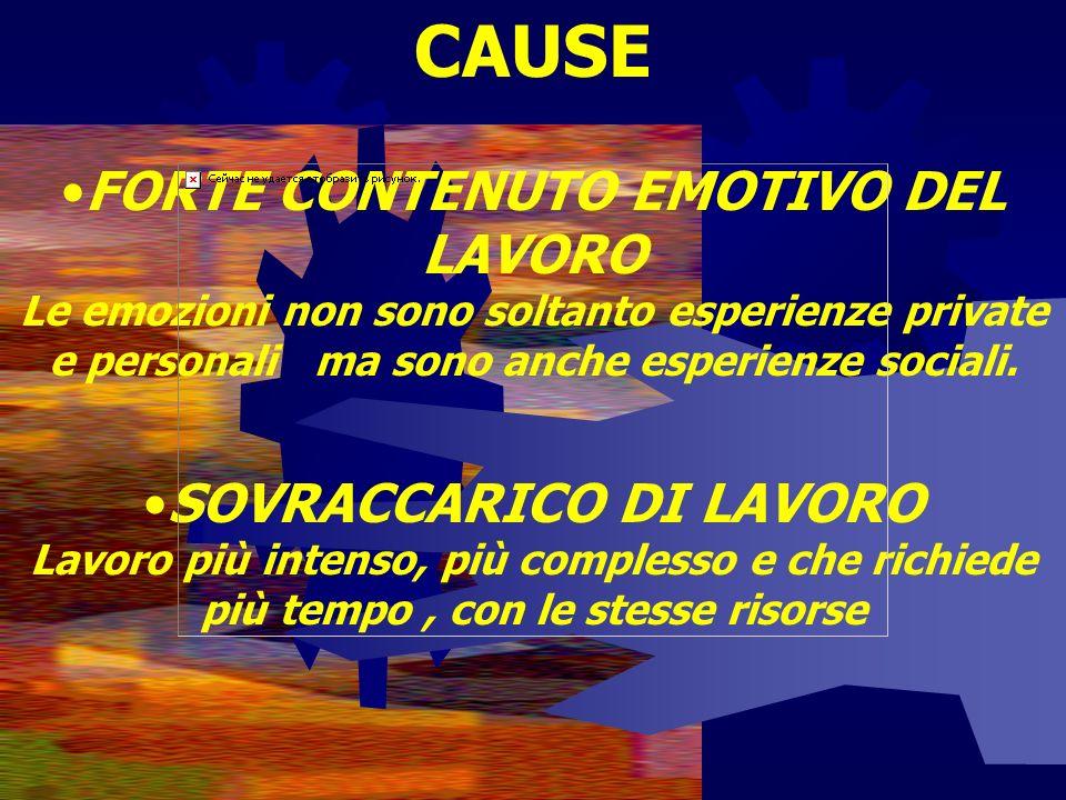 CAUSE FORTE CONTENUTO EMOTIVO DEL LAVORO Le emozioni non sono soltanto esperienze private e personali ma sono anche esperienze sociali.