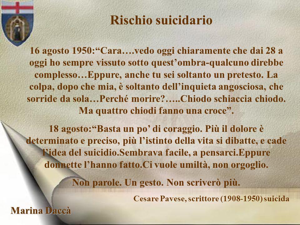 Marina Daccà Rischio suicidario 16 agosto 1950:Cara….vedo oggi chiaramente che dai 28 a oggi ho sempre vissuto sotto questombra-qualcuno direbbe compl