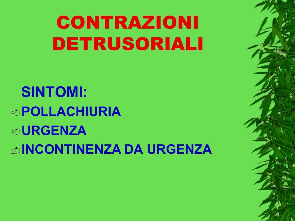 CONTRAZIONI DETRUSORIALI SINTOMI: POLLACHIURIA URGENZA INCONTINENZA DA URGENZA