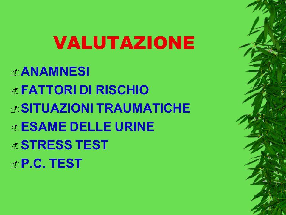 VALUTAZIONE ANAMNESI FATTORI DI RISCHIO SITUAZIONI TRAUMATICHE ESAME DELLE URINE STRESS TEST P.C.