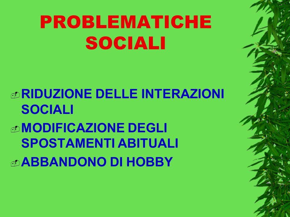 PROBLEMATICHE SOCIALI RIDUZIONE DELLE INTERAZIONI SOCIALI MODIFICAZIONE DEGLI SPOSTAMENTI ABITUALI ABBANDONO DI HOBBY