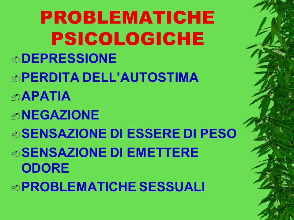 PROBLEMATICHE PSICOLOGICHE DEPRESSIONE PERDITA DELLAUTOSTIMA APATIA NEGAZIONE SENSAZIONE DI ESSERE DI PESO SENSAZIONE DI EMETTERE ODORE PROBLEMATICHE SESSUALI