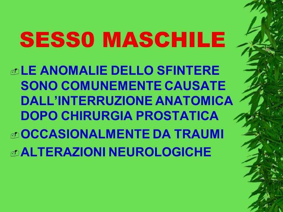 SESS0 MASCHILE LE ANOMALIE DELLO SFINTERE SONO COMUNEMENTE CAUSATE DALLINTERRUZIONE ANATOMICA DOPO CHIRURGIA PROSTATICA OCCASIONALMENTE DA TRAUMI ALTERAZIONI NEUROLOGICHE