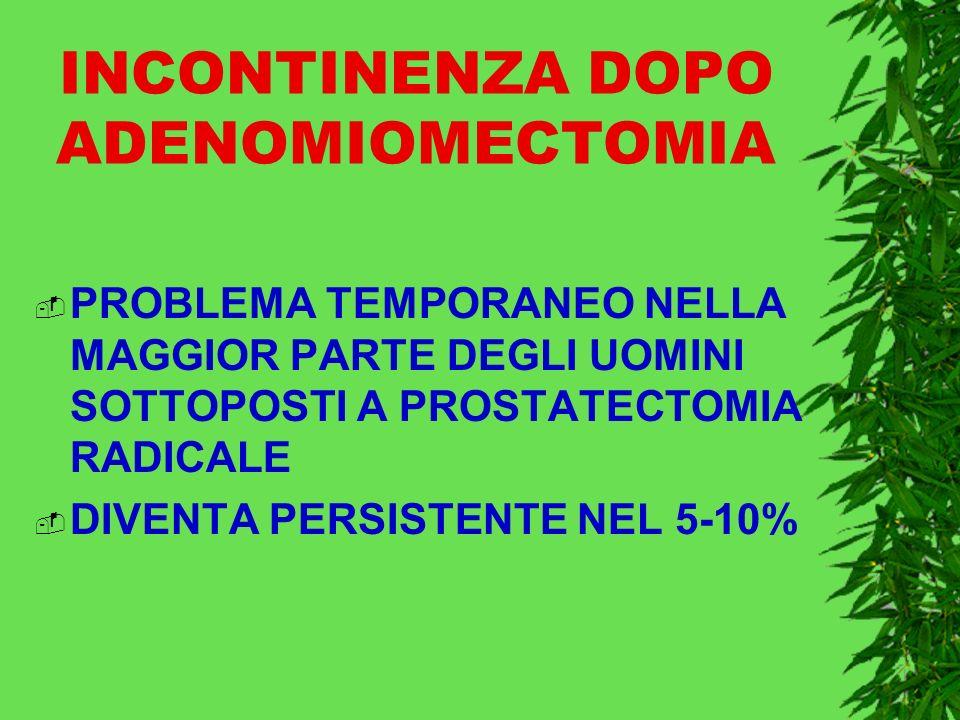 INCONTINENZA DOPO ADENOMIOMECTOMIA PROBLEMA TEMPORANEO NELLA MAGGIOR PARTE DEGLI UOMINI SOTTOPOSTI A PROSTATECTOMIA RADICALE DIVENTA PERSISTENTE NEL 5-10%