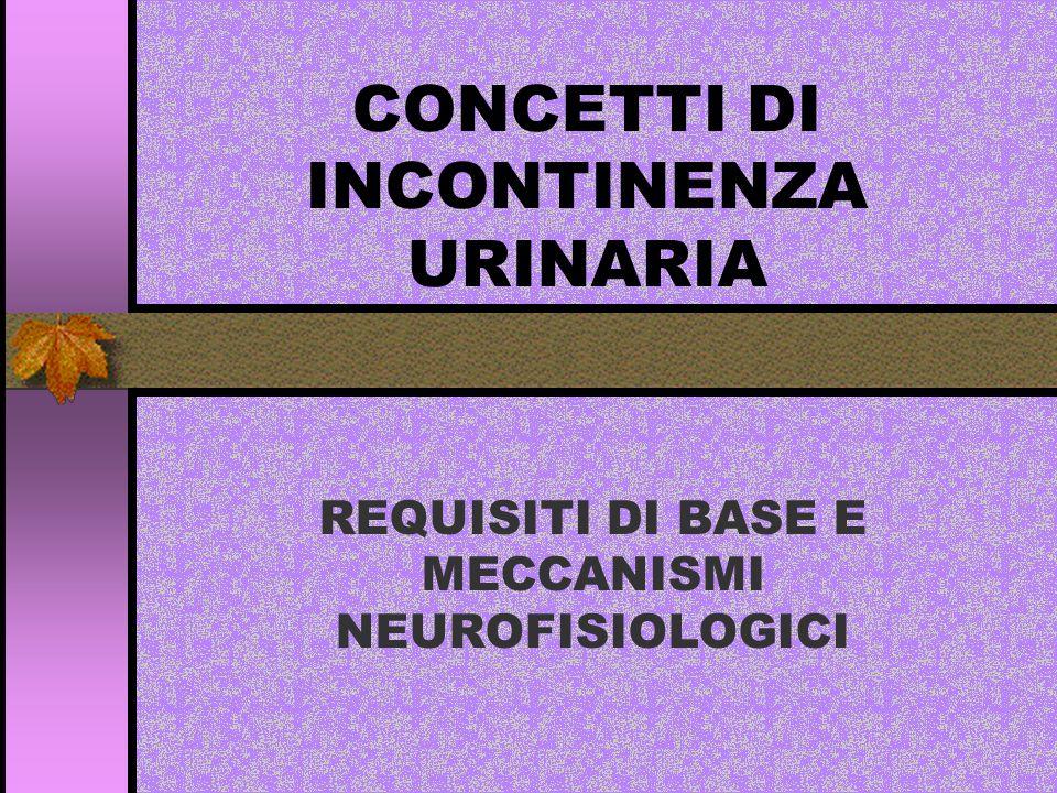 CONCETTI DI INCONTINENZA URINARIA REQUISITI DI BASE E MECCANISMI NEUROFISIOLOGICI