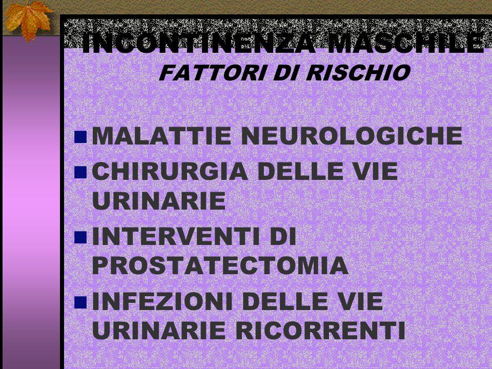 INCONTINENZA MASCHILE FATTORI DI RISCHIO MALATTIE NEUROLOGICHE CHIRURGIA DELLE VIE URINARIE INTERVENTI DI PROSTATECTOMIA INFEZIONI DELLE VIE URINARIE