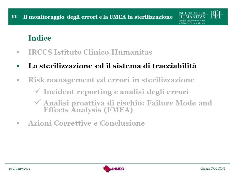 10 giugno 2011 Chiara OGGIONI 11 Indice IRCCS Istituto Clinico Humanitas La sterilizzazione ed il sistema di tracciabilità Risk management ed errori i