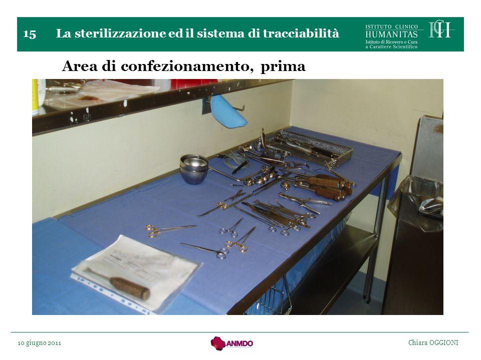 10 giugno 2011 Chiara OGGIONI 15 Area di confezionamento, prima La sterilizzazione ed il sistema di tracciabilità