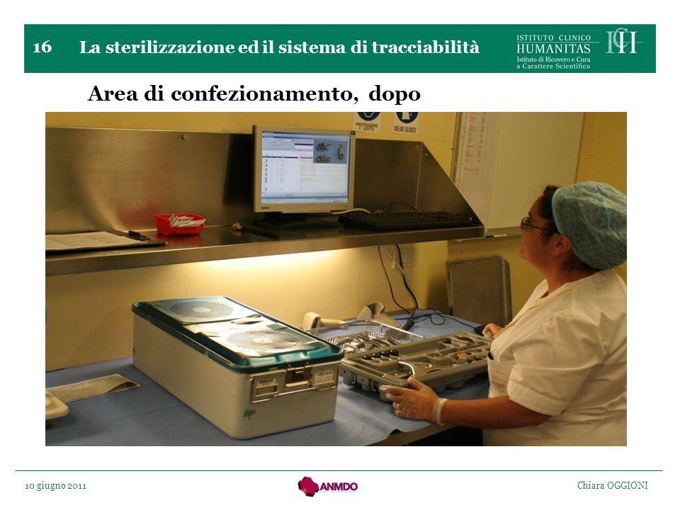 10 giugno 2011 Chiara OGGIONI 16 Area di confezionamento, dopo La sterilizzazione ed il sistema di tracciabilità