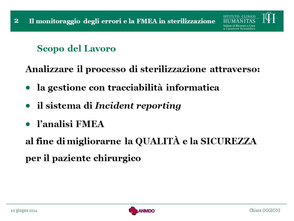 10 giugno 2011 Chiara OGGIONI 2 Scopo del Lavoro Analizzare il processo di sterilizzazione attraverso: la gestione con tracciabilità informatica il si