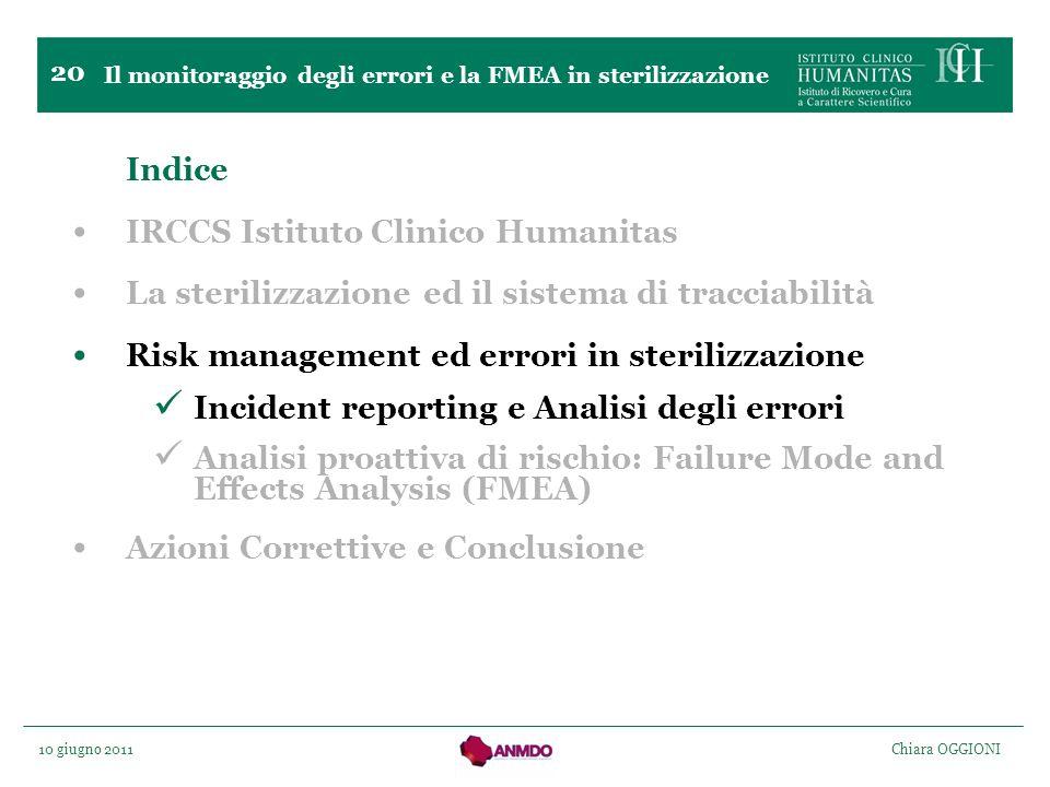 10 giugno 2011 Chiara OGGIONI 20 Indice IRCCS Istituto Clinico Humanitas La sterilizzazione ed il sistema di tracciabilità Risk management ed errori i