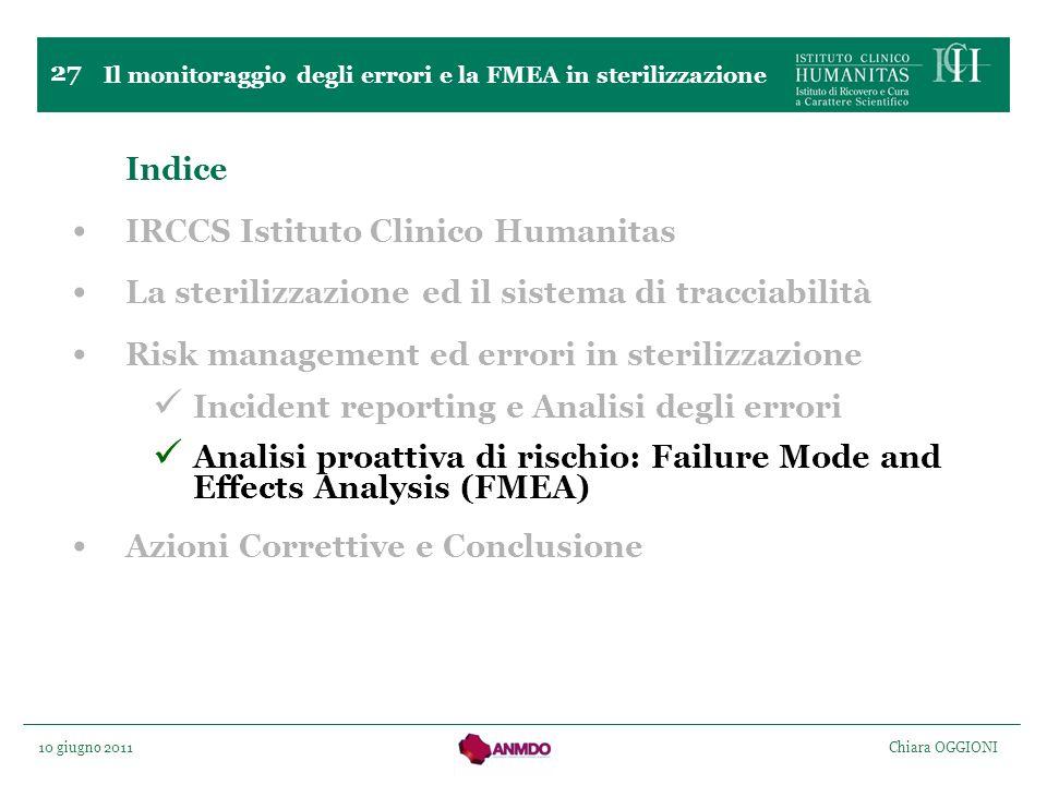 10 giugno 2011 Chiara OGGIONI 27 Indice IRCCS Istituto Clinico Humanitas La sterilizzazione ed il sistema di tracciabilità Risk management ed errori i
