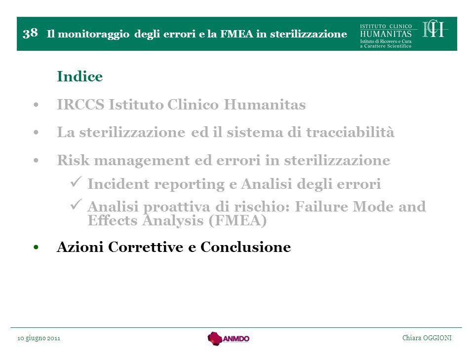 10 giugno 2011 Chiara OGGIONI 38 Indice IRCCS Istituto Clinico Humanitas La sterilizzazione ed il sistema di tracciabilità Risk management ed errori i