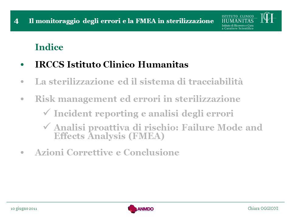 10 giugno 2011 Chiara OGGIONI 4 Indice IRCCS Istituto Clinico Humanitas La sterilizzazione ed il sistema di tracciabilità Risk management ed errori in