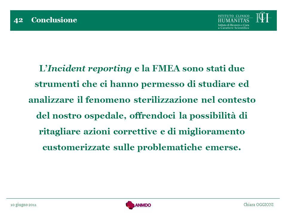 10 giugno 2011 Chiara OGGIONI 42 Conclusione LIncident reporting e la FMEA sono stati due strumenti che ci hanno permesso di studiare ed analizzare il