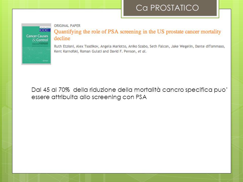 Ca PROSTATICO Dal 45 al 70% della riduzione della mortalità cancro specifica puo essere attribuita allo screening con PSA