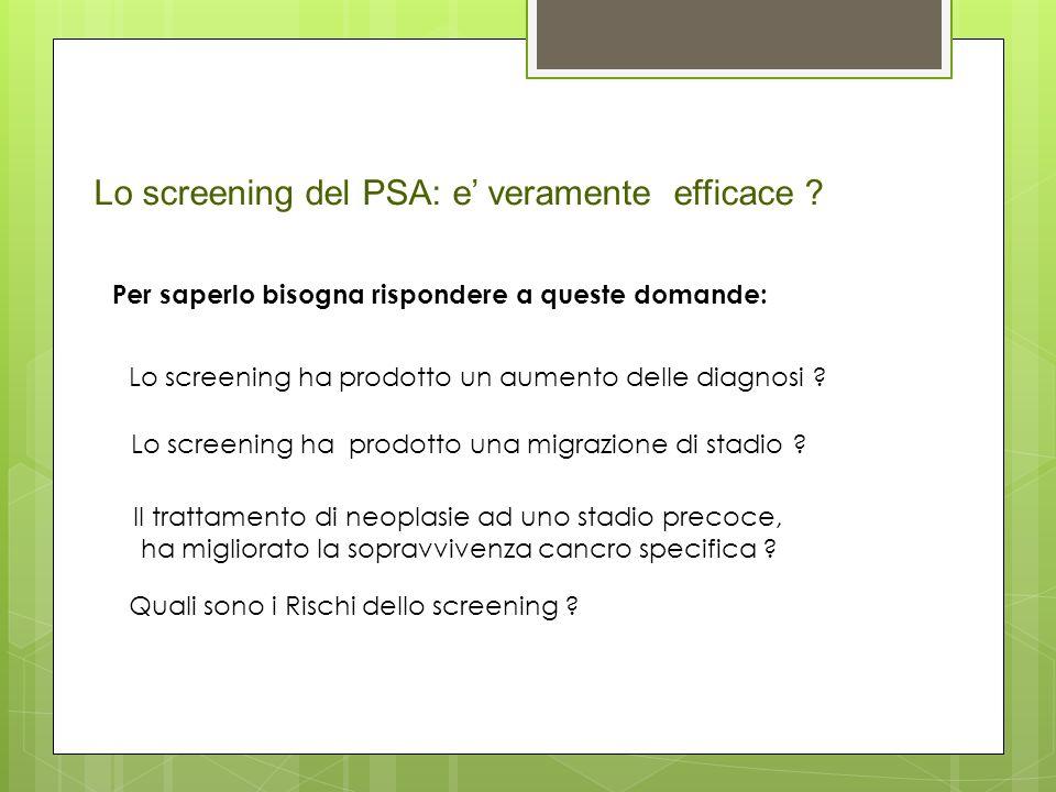 Lo screening del PSA: e veramente efficace ? Per saperlo bisogna rispondere a queste domande: Lo screening ha prodotto un aumento delle diagnosi ? Lo