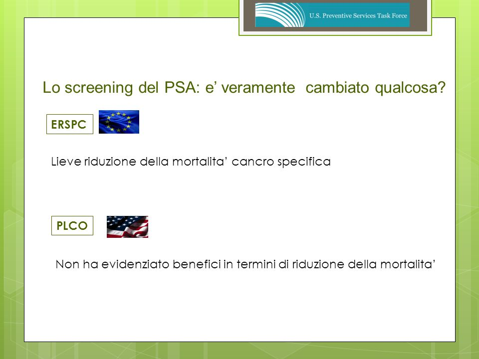 EuropeanRandomizedstudy of Screening for Prostate Cancer ERSPC Numero uomini arruolati182.160 Eta50 – 74 anni Psaogni 2 o 4 anni Follow – Up mediano9 anni Screening8,2% Controlli4,8% Diagnosi di Ca.