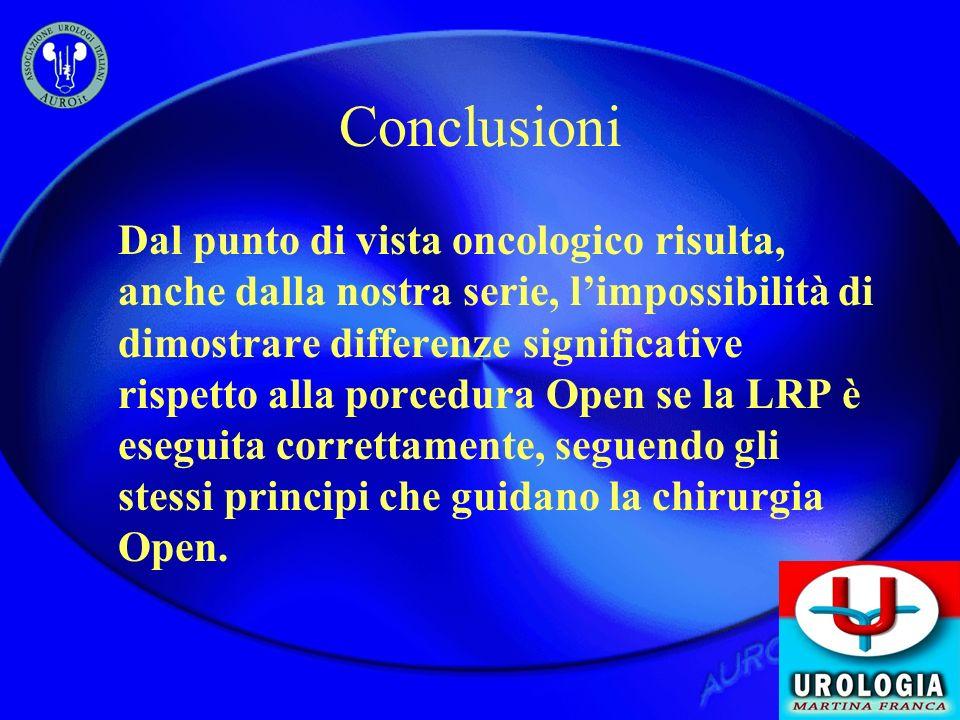 Conclusioni Dal punto di vista oncologico risulta, anche dalla nostra serie, limpossibilità di dimostrare differenze significative rispetto alla porce
