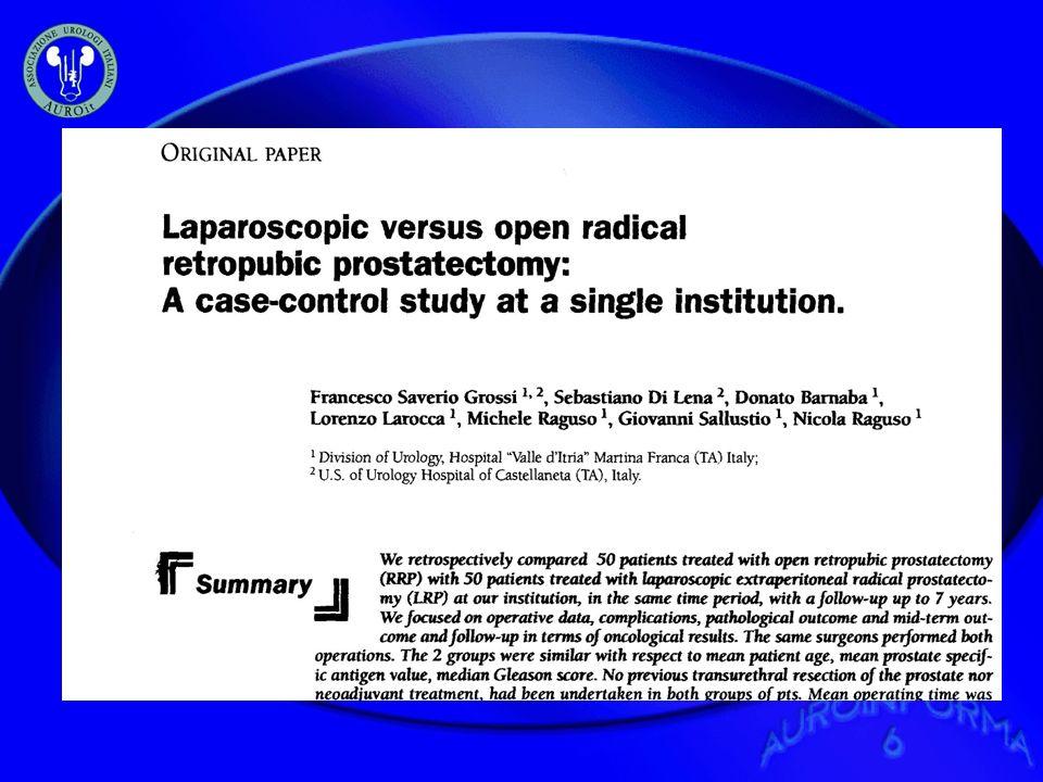 Introduzione Abbiamo valutato retrospettivamente 50 pz trattati, presso la nostra struttura, con Prostatectomia Radicale Open (RRP) con 50 pz trattati con prostatectomia Radicale in Videolaparoscopia retroperitoneale (LRP) nello stesso lasso di tempo.