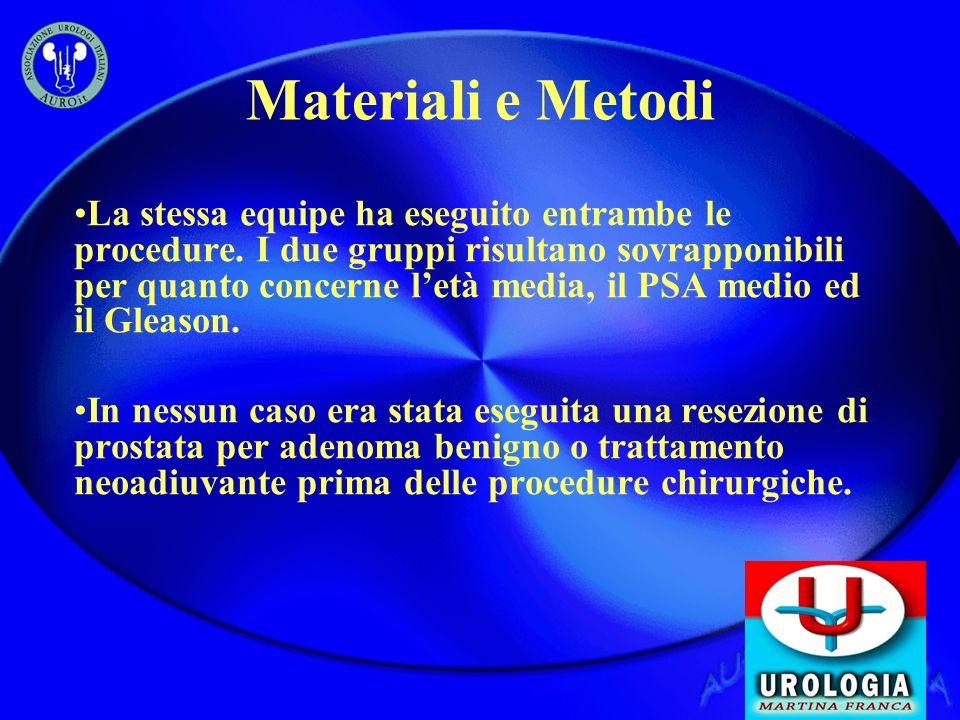 Materiali e Metodi La stessa equipe ha eseguito entrambe le procedure. I due gruppi risultano sovrapponibili per quanto concerne letà media, il PSA me