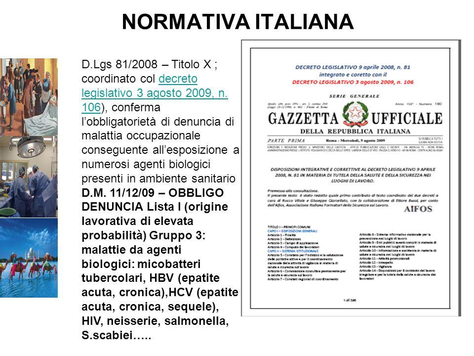 NORMATIVA ITALIANA D.Lgs. 81/08 - TITOLO X - Esposizione ad agenti biologici Lart.18 Obblighi del datore di lavoro e dei dirigenti, che organizzano e