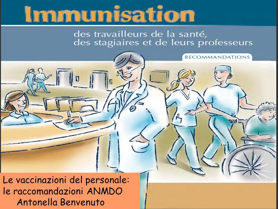 Le vaccinazioni del personale: le raccomandazioni ANMDO Antonella Benvenuto Sala verde 10 giugno 2011 Seminario: Le Vaccinazioni in Ospedale trasmissi