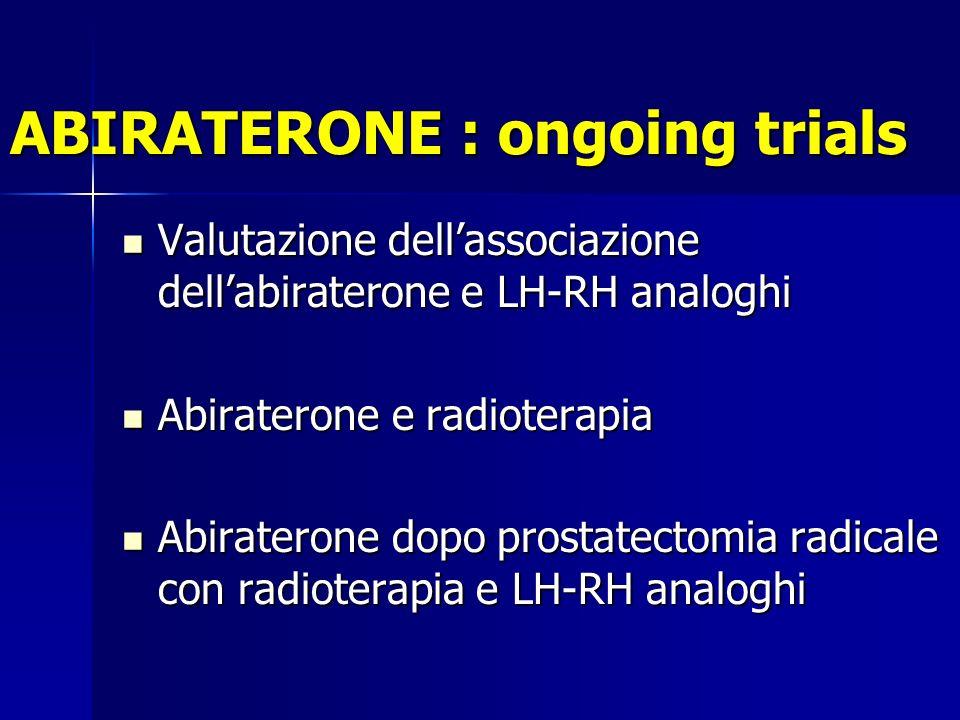 ABIRATERONE : ongoing trials Valutazione dellassociazione dellabiraterone e LH-RH analoghi Valutazione dellassociazione dellabiraterone e LH-RH analoghi Abiraterone e radioterapia Abiraterone e radioterapia Abiraterone dopo prostatectomia radicale con radioterapia e LH-RH analoghi Abiraterone dopo prostatectomia radicale con radioterapia e LH-RH analoghi