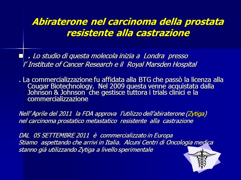Abiraterone nel carcinoma della prostata resistente alla castrazione.