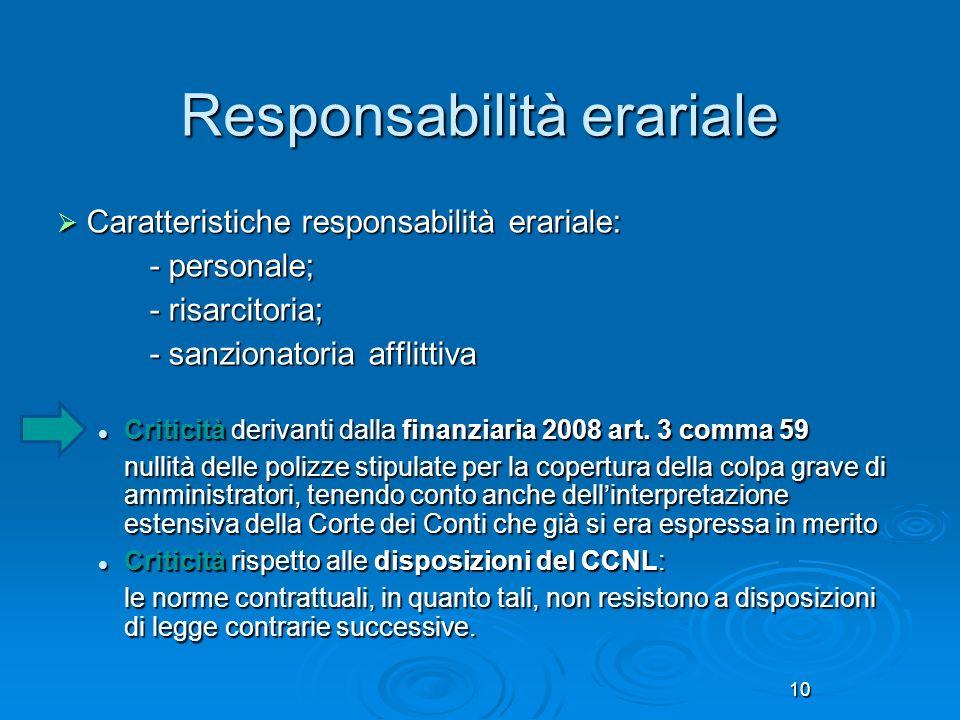 10 Responsabilità erariale Caratteristiche responsabilità erariale: Caratteristiche responsabilità erariale: - personale; - risarcitoria; - sanzionato