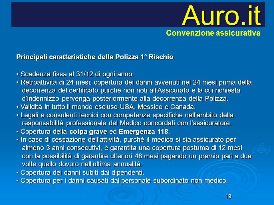 19 Auro.it Principali caratteristiche della Polizza 1° Rischio Scadenza fissa al 31/12 di ogni anno. Retroattività di 24 mesi: copertura dei danni avv