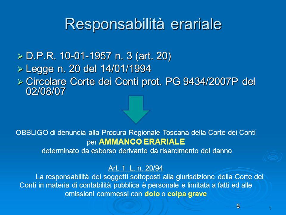 9 5 Responsabilità erariale D.P.R. 10-01-1957 n. 3 (art. 20) D.P.R. 10-01-1957 n. 3 (art. 20) Legge n. 20 del 14/01/1994 Legge n. 20 del 14/01/1994 Ci