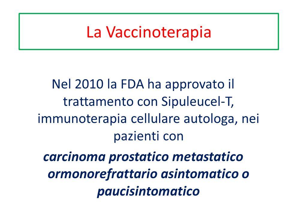 Nel 2010 la FDA ha approvato il trattamento con Sipuleucel-T, immunoterapia cellulare autologa, nei pazienti con carcinoma prostatico metastatico ormonorefrattario asintomatico o paucisintomatico La Vaccinoterapia