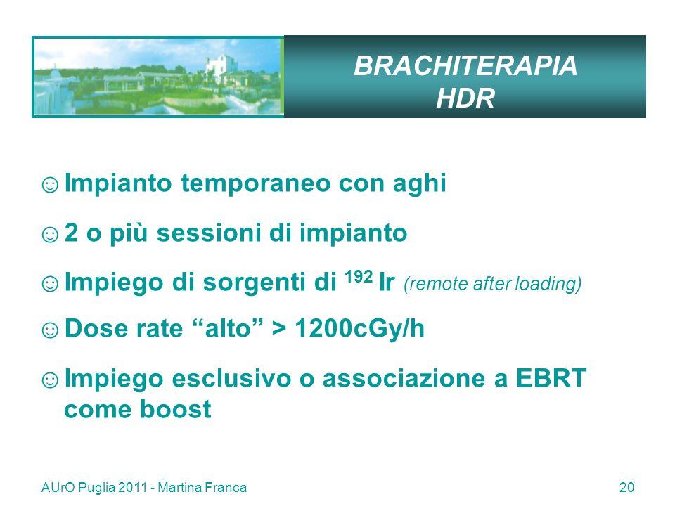 AUrO Puglia 2011 - Martina Franca20 BRACHITERAPIA HDR Impianto temporaneo con aghi 2 o più sessioni di impianto Impiego di sorgenti di 192 Ir (remote after loading) Dose rate alto > 1200cGy/h Impiego esclusivo o associazione a EBRT come boost