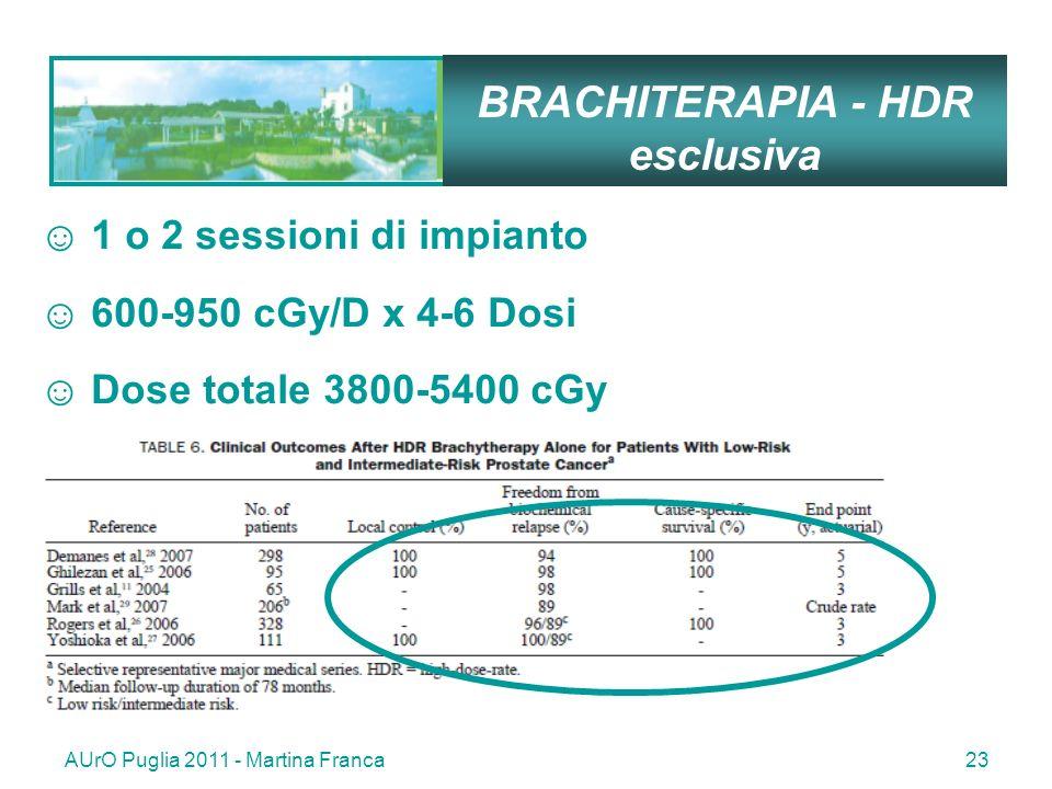 AUrO Puglia 2011 - Martina Franca23 BRACHITERAPIA - HDR esclusiva 1 o 2 sessioni di impianto 600-950 cGy/D x 4-6 Dosi Dose totale 3800-5400 cGy