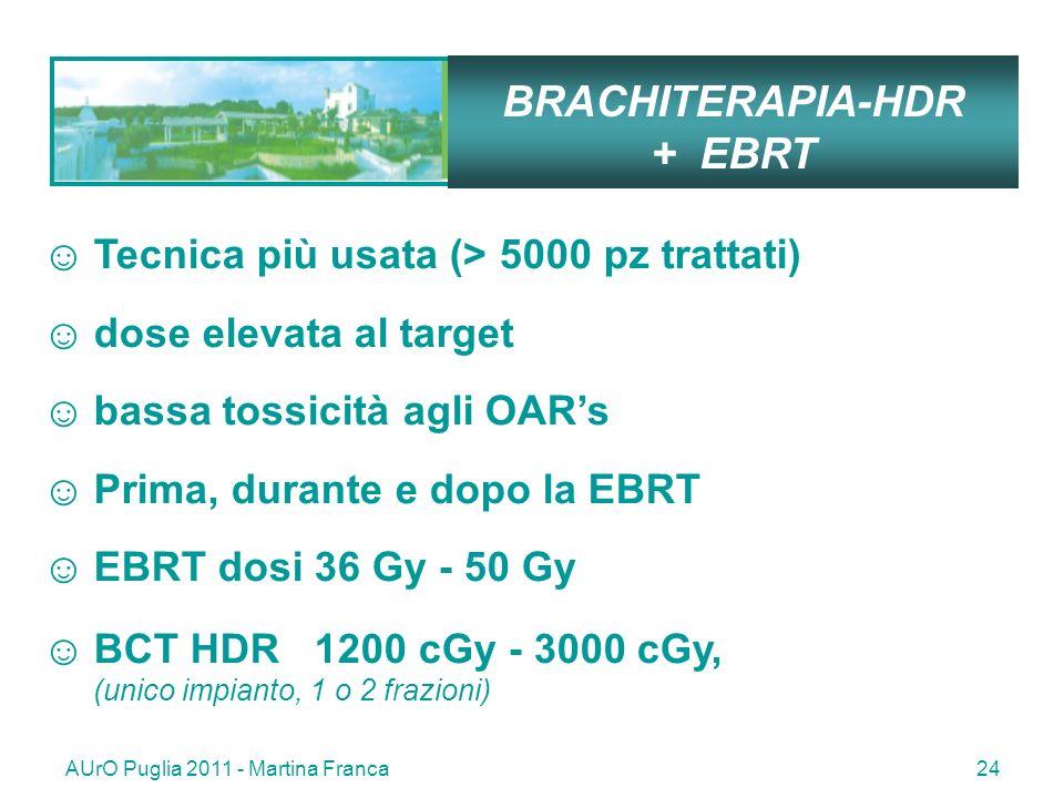 AUrO Puglia 2011 - Martina Franca24 BRACHITERAPIA-HDR + EBRT Tecnica più usata (> 5000 pz trattati) dose elevata al target bassa tossicità agli OARs Prima, durante e dopo la EBRT EBRT dosi 36 Gy - 50 Gy BCT HDR 1200 cGy - 3000 cGy, (unico impianto, 1 o 2 frazioni)