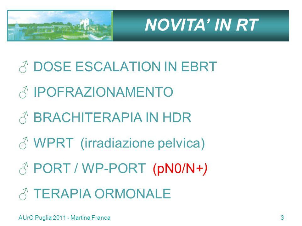 AUrO Puglia 2011 - Martina Franca34 PORT immediata migliora la B-PFs ed il controllo locale con tossicità G4 contenuta 1005 pz pT3pN0 ± R1 ; PORT vs OBS 60 Gy su letto prostatico End-point : PORT su PFS R+