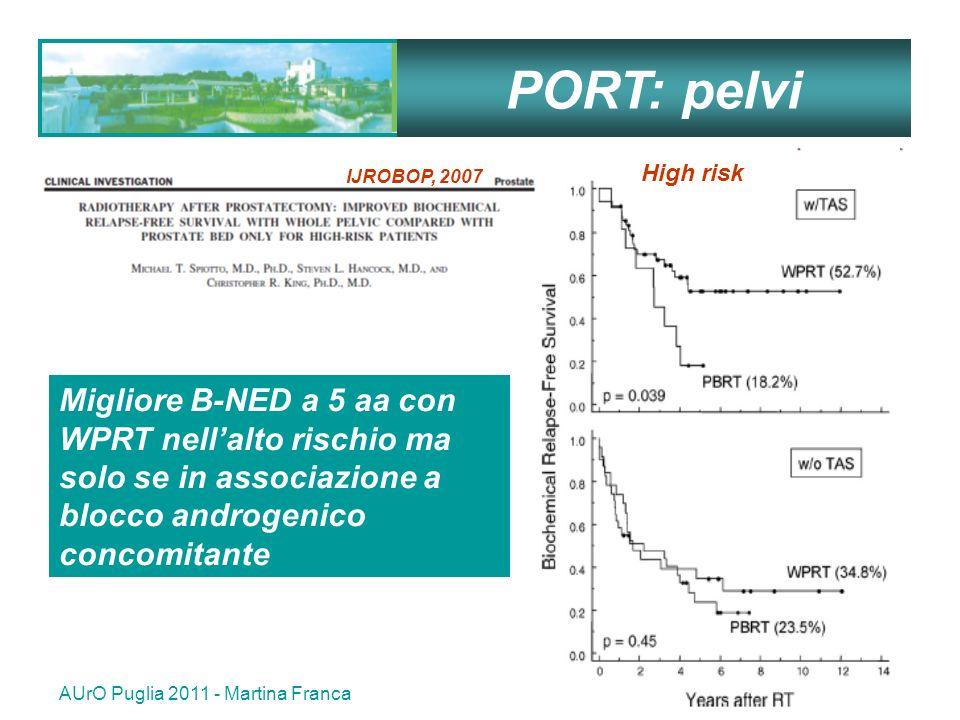 AUrO Puglia 2011 - Martina Franca39 Migliore B-NED a 5 aa con WPRT nellalto rischio ma solo se in associazione a blocco androgenico concomitante High risk PORT: pelvi IJROBOP, 2007