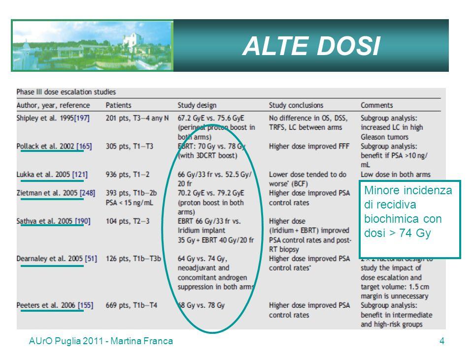 AUrO Puglia 2011 - Martina Franca4 ALTE DOSI Minore incidenza di recidiva biochimica con dosi > 74 Gy